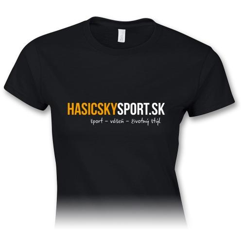 Dámske tričko – logo HasičskýŠport.sk - čierne