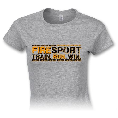 Dámske tričko – Firesport - train - run - win - oranžová